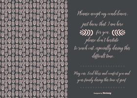 Cartão de condolências de estilo desenhado à mão vetor