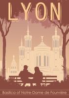 Vintage Lyon Landmark Poster Vector