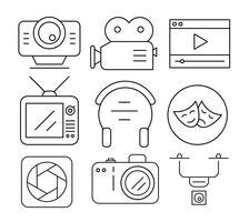 Ícones de vídeo linear vetor