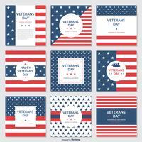 Cartões vetoriais das listras do dia do veterano e das estrelas