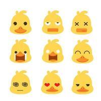 conjunto de emoção cara de pato vetor