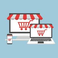 conceito de computador compras online