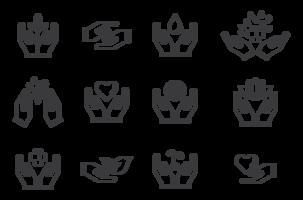 Vetor de ícones de mãos curando