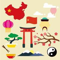 vetor de ícones asiáticos, chineses e japoneses gratuitos