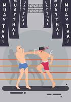 Two Man Fight Muay Thai Ilustração de artes marciais vetor