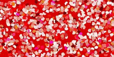 fundo vermelho claro com formas aleatórias.