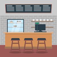 Ilustração moderna do interior do café