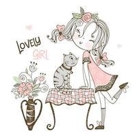 garota legal com um gato vetor