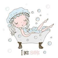 menina bonitinha tomando banho de espuma vetor