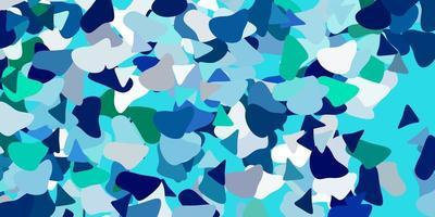 modelo azul claro e verde com formas abstratas.