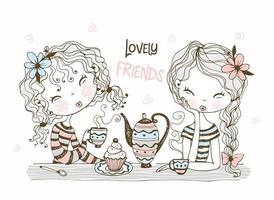 amigas fofas bebem chá vetor