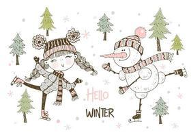 linda garota e boneco de neve patinando vetor