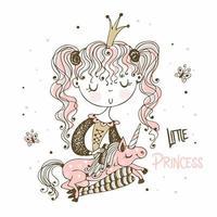 pequena princesa penteia a crina de seu unicórnio vetor