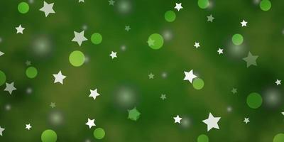 fundo verde claro com círculos, estrelas.