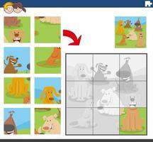 jogo de quebra-cabeça com personagens de cães vetor