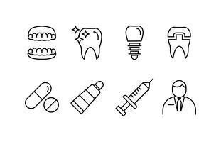 Pack de ícones de linha de dentista vetor