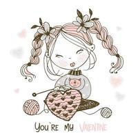 uma doce menina tricota um grande coração vetor