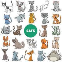 Conjunto grande de personagens de desenhos animados de gatos e gatinhos