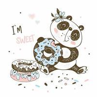 O pequeno panda fofo come donuts doces vetor