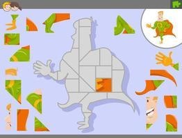 jogo de quebra-cabeça com super-herói de desenho animado vetor