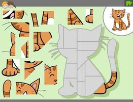 jogo de quebra-cabeça com personagem de desenho animado vetor