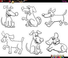 página do livro a cores de cães e cachorros de desenho animado