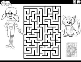 labirinto com página de livro para colorir de menina e gatinho vetor