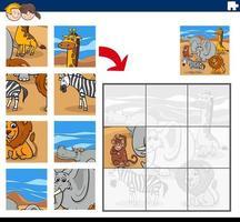 jogo de quebra-cabeça com personagens de animais selvagens vetor