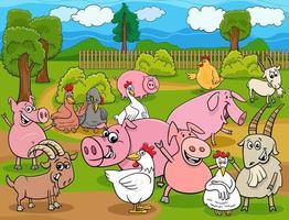 grupo de personagens de desenhos animados de animais de fazenda vetor