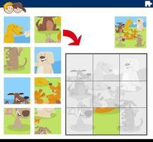 jogo de quebra-cabeça com personagens de quadrinhos de cães vetor