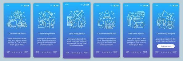página do aplicativo móvel de integração de marketing vetor