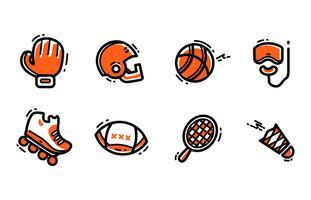 Conjunto de ícones de equipamento esportivo vetor