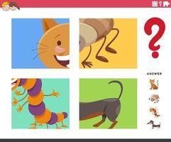 Adivinha o jogo de animais de desenho animado para crianças vetor