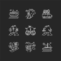 conjunto de ícones de giz branco de viagem de férias