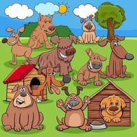 grupo de personagens de cães e cachorros de desenho animado