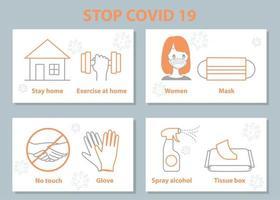 conjunto de medidas de segurança do vírus corona covid-19 vetor
