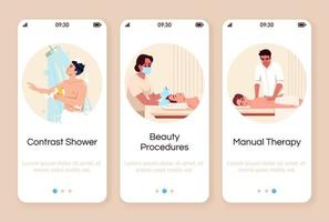 tela do aplicativo para dispositivos móveis do spa resort vetor