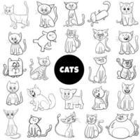 personagens de desenhos animados gato grande conjunto página de livro de cores