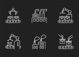 Conjunto de ícones de giz branco de produção de fábrica
