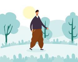 jovem caminhando ao ar livre vetor