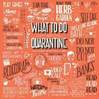 o que fazer em quarentena, tipografia design de cartaz vetor