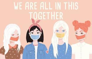 grupo de quatro mulheres jovens com máscaras cirúrgicas. vetor