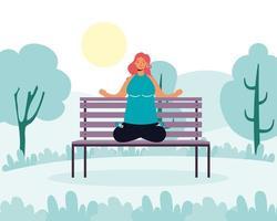 mulher praticando ioga no parque vetor