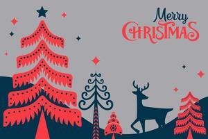 modelo da web de pinheiro folclórico retrô feliz natal vetor