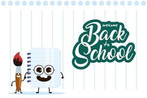 escola kawaii fornece personagens para voltar às aulas vetor
