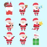 conjunto de papai noel, atividade de natal, desenho animado, personagem, pacote vetor
