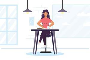 jovem sentada em um restaurante vetor