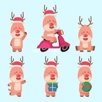 conjunto de personagens de atividades natalinas de renas vetor