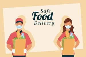 banner conceito de entrega de comida segura vetor