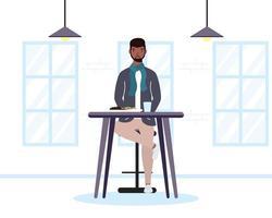 jovem sentado em um restaurante vetor